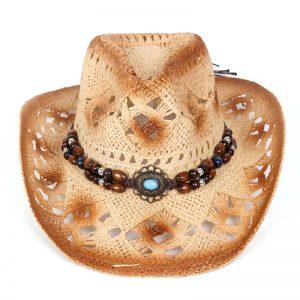 hoed boho cowboy stro licht bruin met kralen en steen