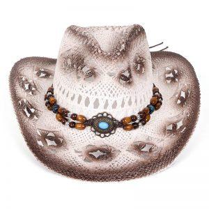 hoed boho cowboy stro wit met bruin met kralen en steen