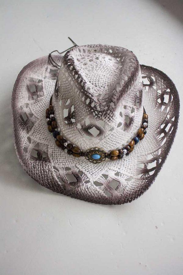 hoed boho cowboy stro wit met met kralen en steen