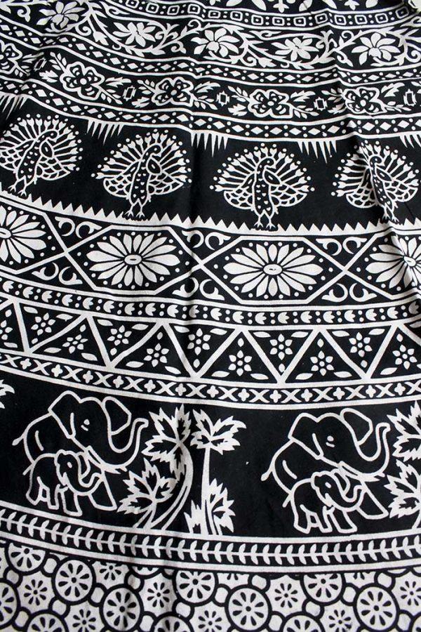 katoenen wikkelrok zwart wit bloemen