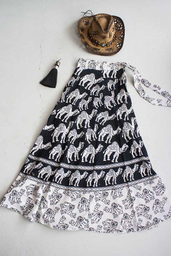 katoenen wikkelrok zwart wit kamelen