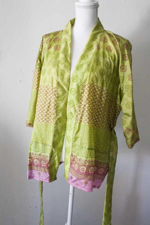 kimono kort licht groengeel met roze