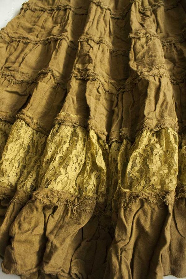 lange zigeuner strokenrok olijf geelgroen