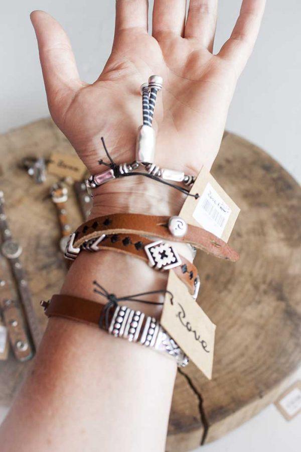 Armband leer met zilver dubbel Zen