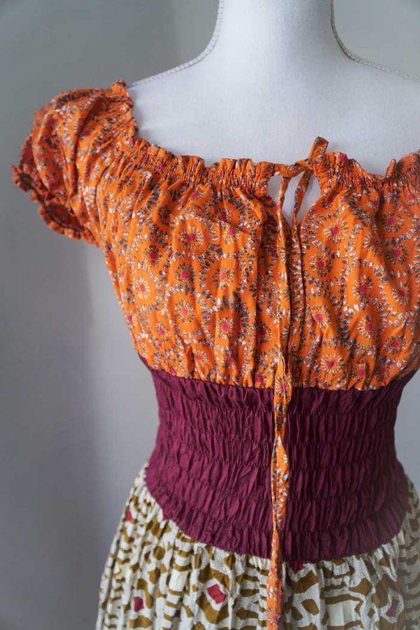 Burlesque lange jurk oranje petrol bordeaux