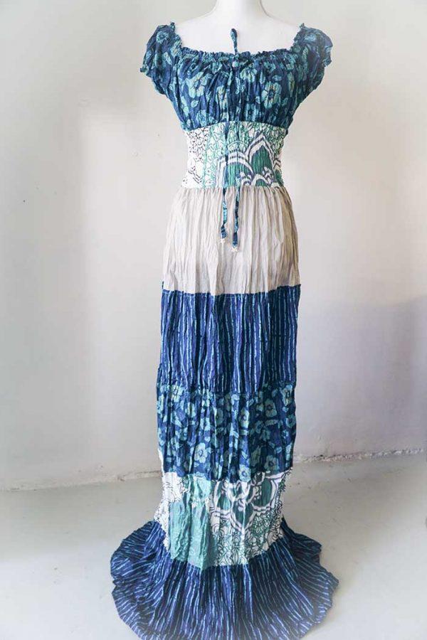 Burlesque lange jurk petrol beige wit