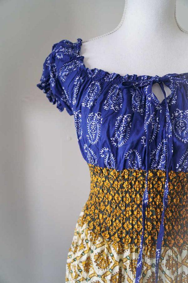 Burlesque lange jurk rood blauw wit goud