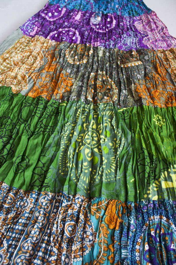 Gypsy kleurige strokenrok groen blauw paars oranje