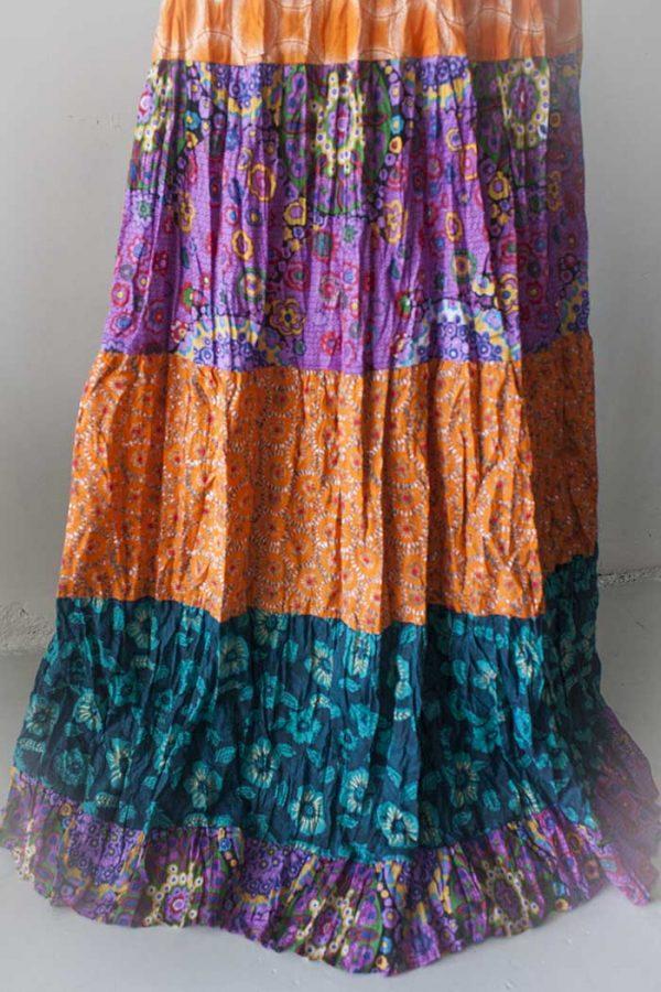 Gypsy kleurige strokenrok oranje roze petrol
