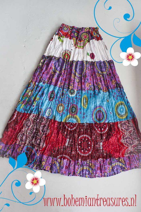 Gypsy kleurige strokenrok rood blauw roze wit