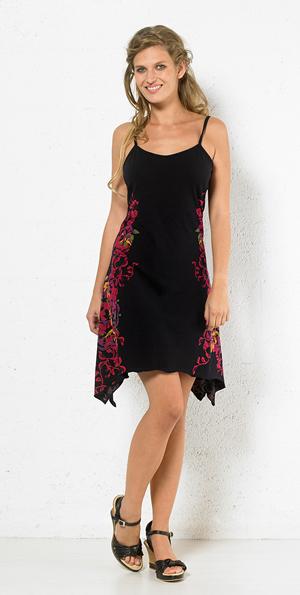 Jurkje tricot katoen met punten en bloemenprint turqoise zwart