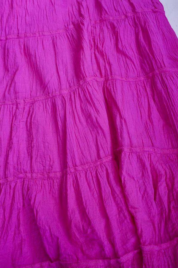 Lange strokenrok kreukelkatoen helder roze