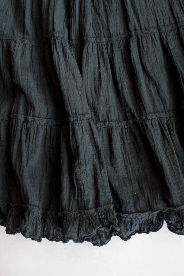 Lange strokenrok kreukelkatoen zwart