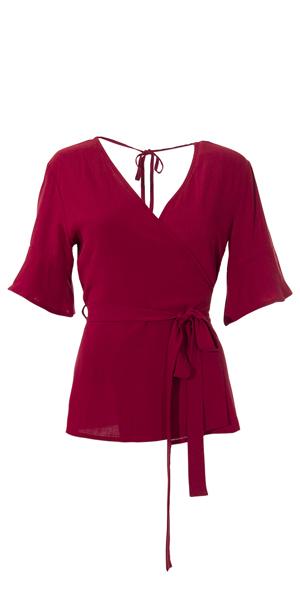 Shirt halflange mouw wikkelmodel bordeaux rood