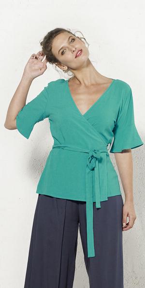 Shirt halflange mouw wikkelmodel emeraldgroen
