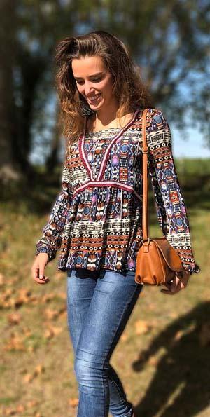 Tuniekje blouse hippie tribal print  viscose