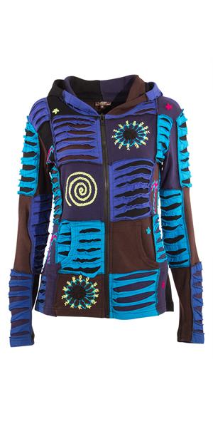 Vest blauw katoen met capuchon patchwork