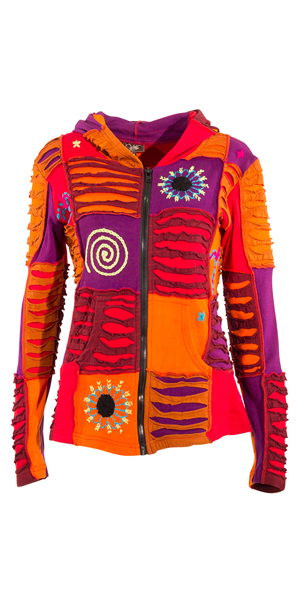 Vest oranje katoen met capuchon patchwork