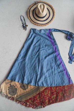 gypsy magical sari India wrapskirt blue light brown red