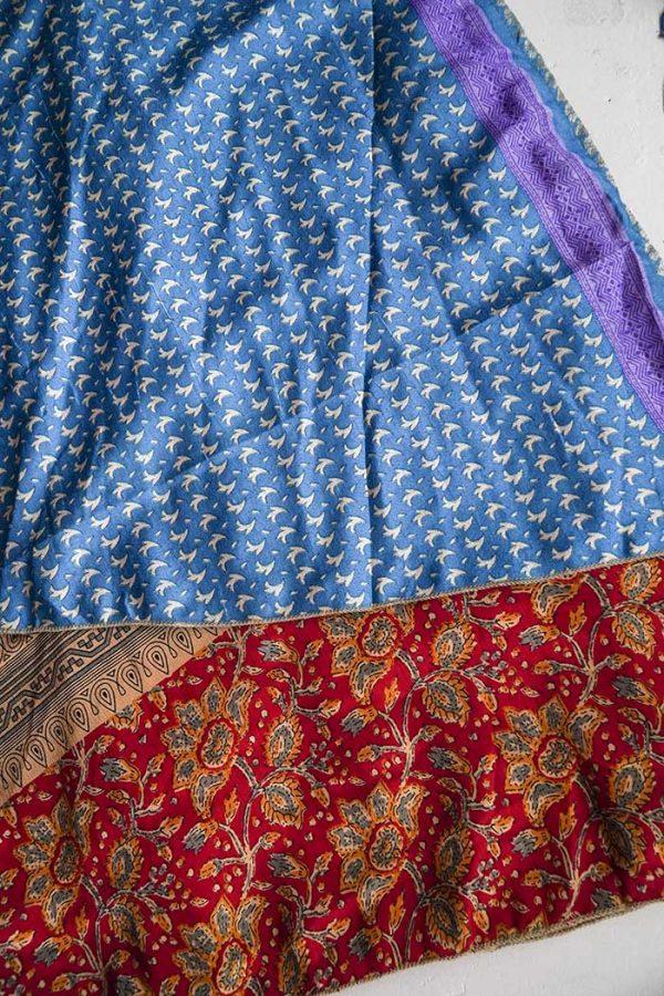 gypsy magische sari India wikkelrok blauw lichtbruin rood