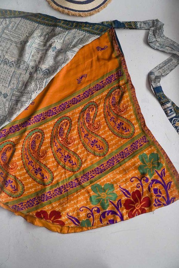 gypsy magische sari India wikkelrok petrol met roomwit en oranje