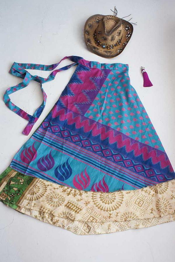gypsy magische sari India wikkelrok turqoise blauw met roze