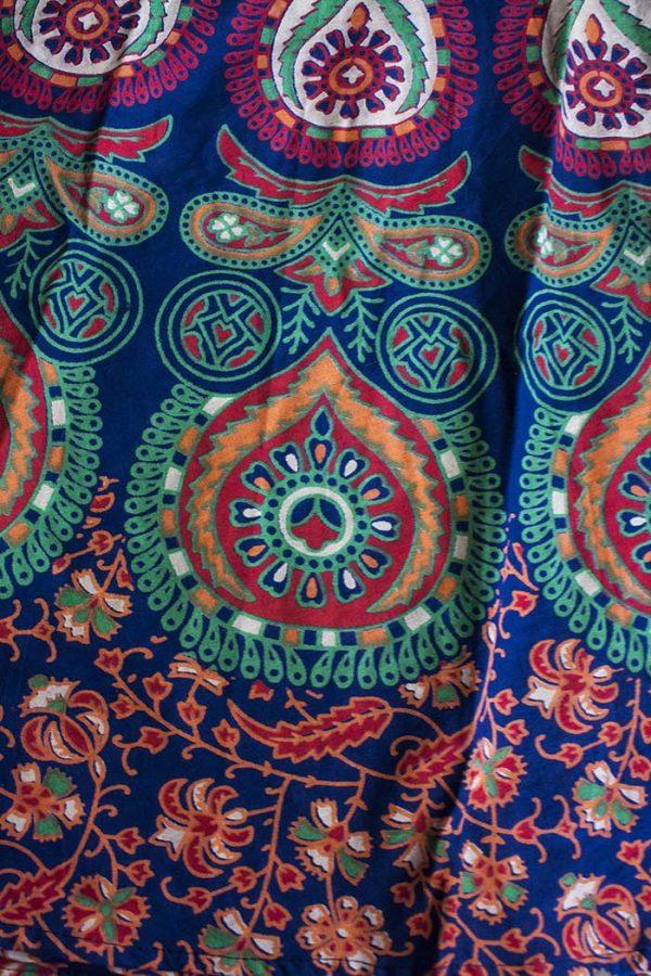 katoenen wikkelrok blauw groen oranje druppel