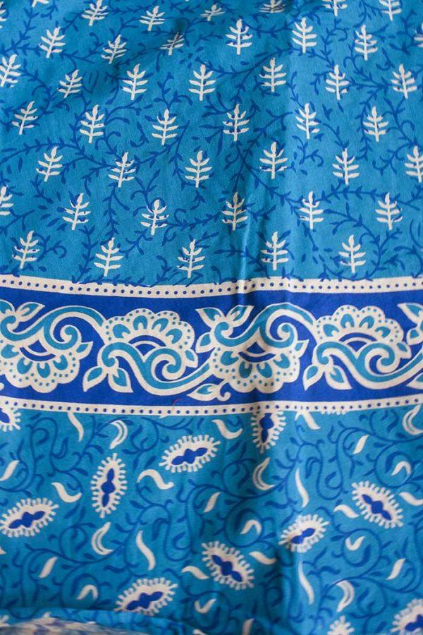 katoenen wikkelrok helder turqoise blauw met beige