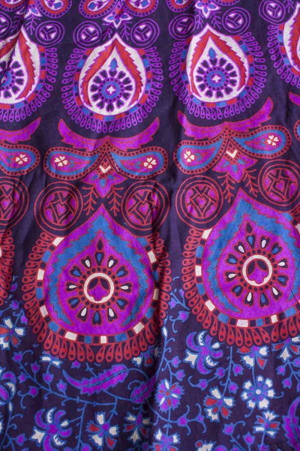 katoenen wikkelrok paars roze druppel print