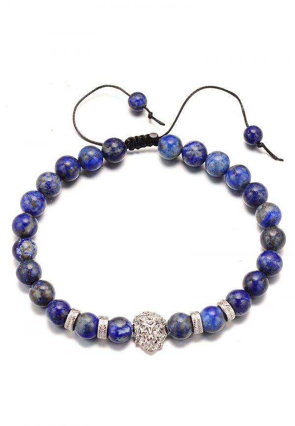 Armband met lapis lazuli kralen aan aantrekkoord