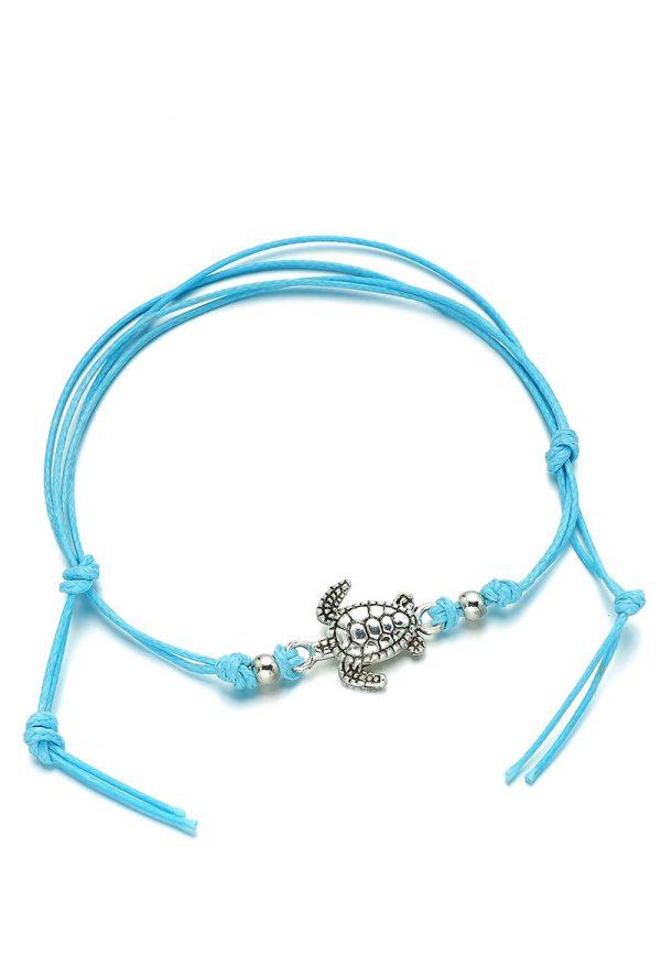 Armbandje enkelbandje met blauw koord en schildpad