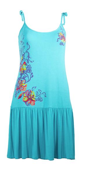 Jurkje met strook onder in turqoise met mooie asymetrische bloemen print