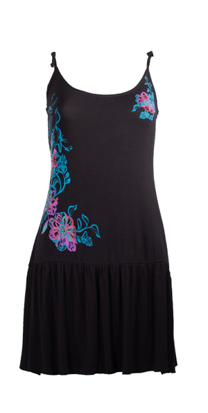 Jurkje met strook onder in zwart met mooie asymetrische bloemen print