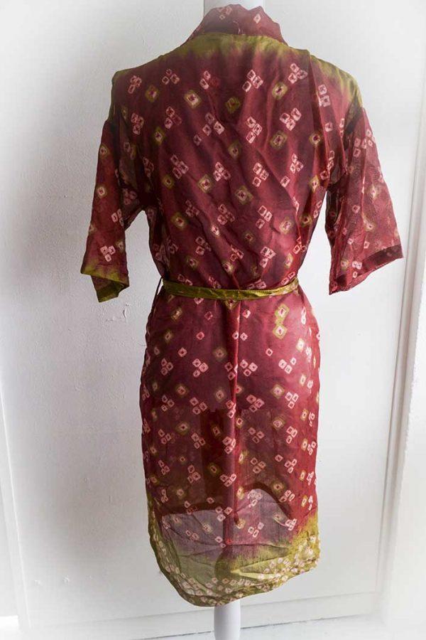 Kimono lang donker bruinrood met olijfgroen korte mouw
