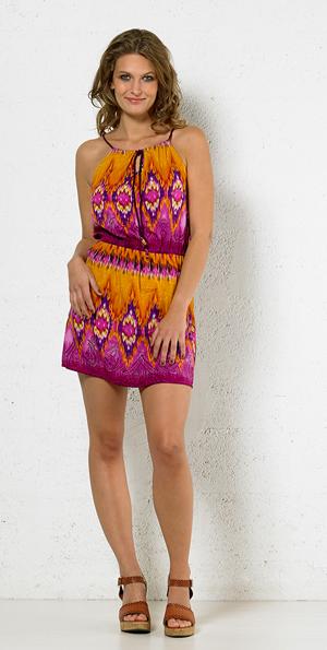 Mini jurk tuniek oranjegeel met roze en grijs tribal print