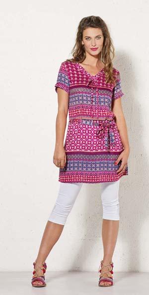 Tuniek jurk met korte mouwtjes in paars roze witte print met veel details