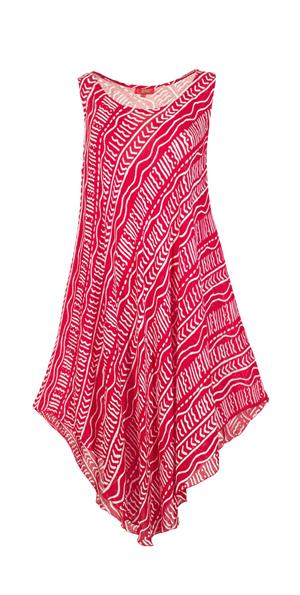 Tuniek jurk viscose vrolijk rood met wit
