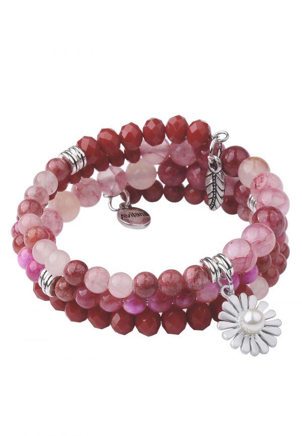 Wikelarmband met natuurstenen kralen rood roze