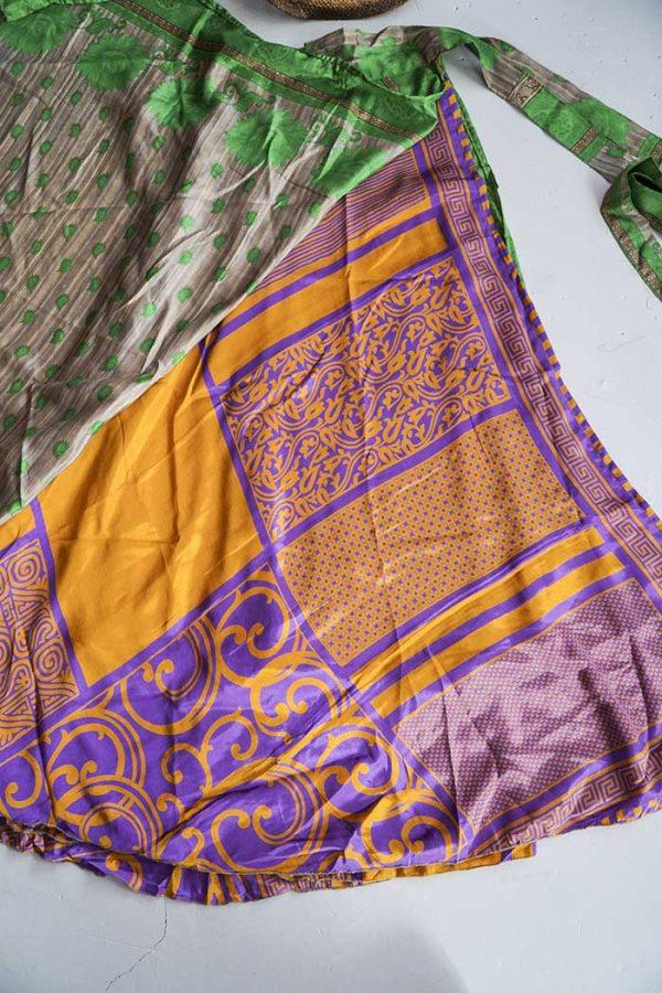gypsy magische sari India lichtgroen met beige en oranje