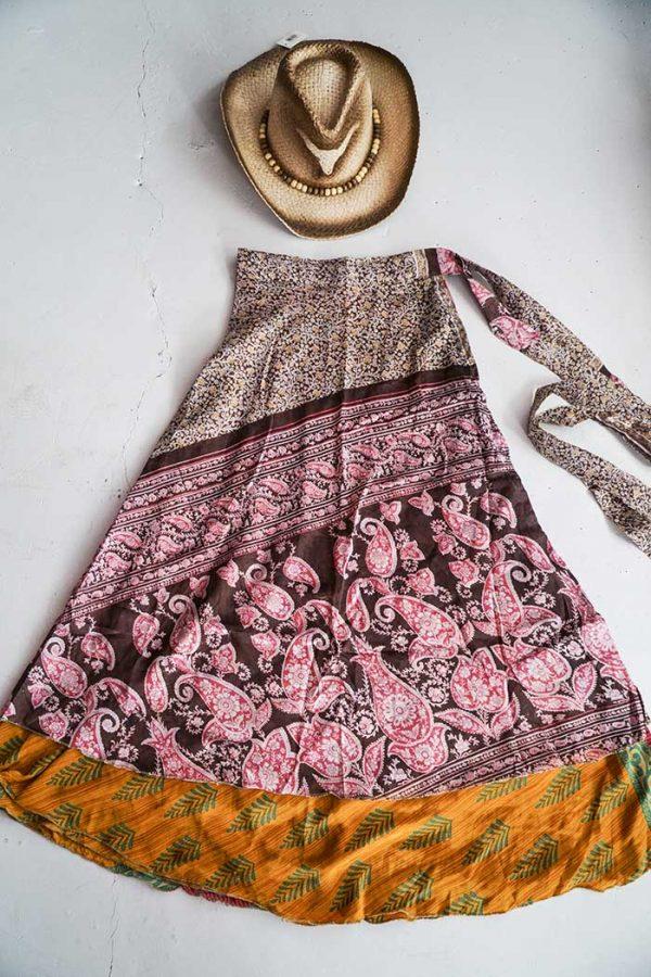 gypsy magische sari India wikkelrok bruin met bloemetjes en oranje