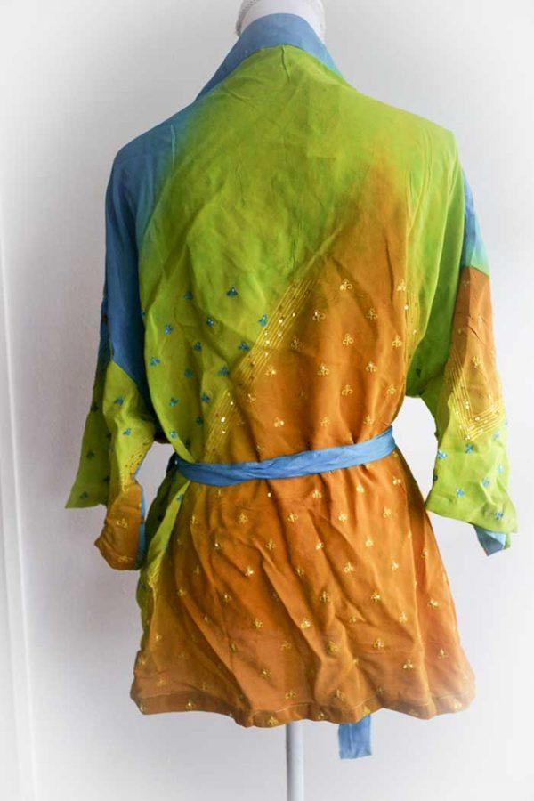 kimono kort blauw oranje geel lange mouw model