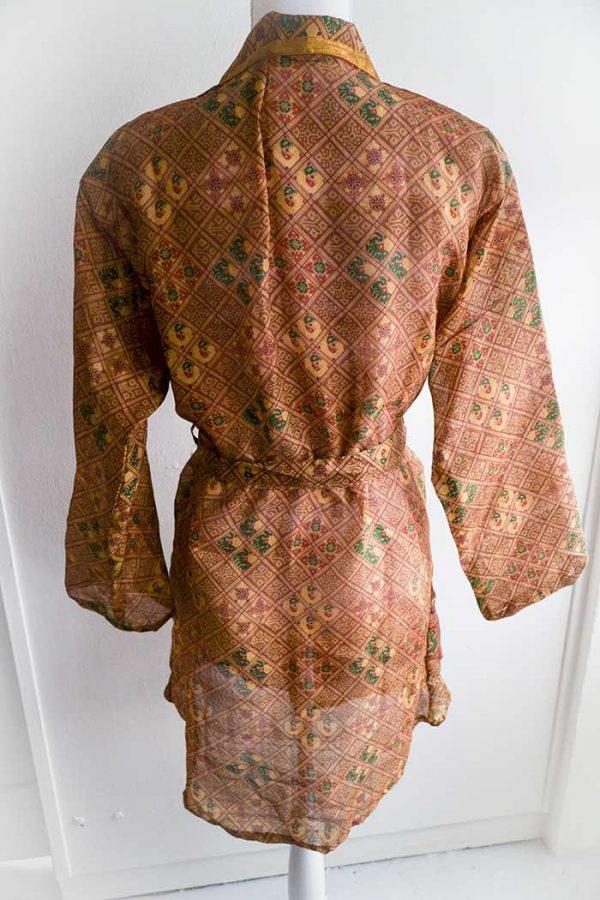 kimono lang roestbruin patroontje lange mouw