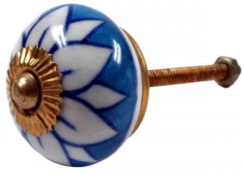 Deur knopjes blauw met witte bloemblaadjes