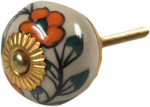 Deur knopjes wit met oranje bloemetjes