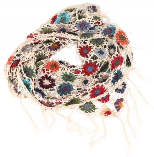 Gehaakte sjaal met bloemen katoen roomwit