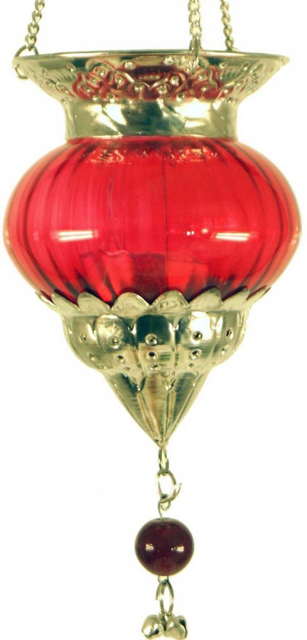 Hanger waxinelichtje oosters  nacht rood met goud glas