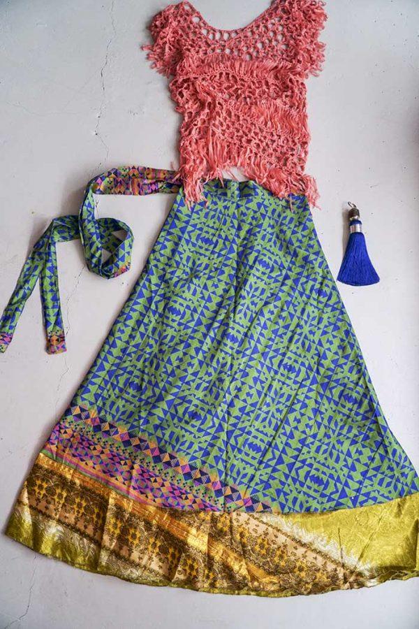 India gipsy sari wikkelrok magisch blauw groen oker