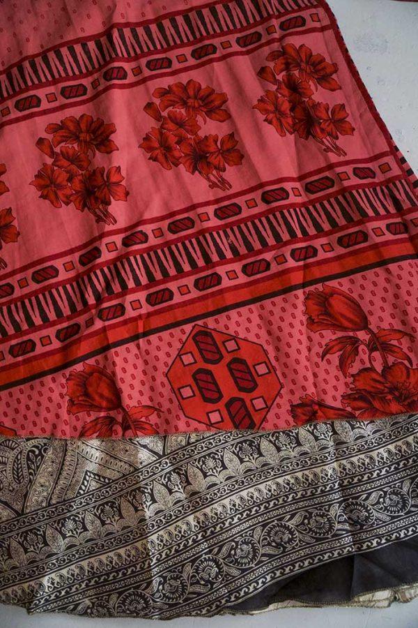 India gipsy sari wikkelrok magisch helder koraalrood
