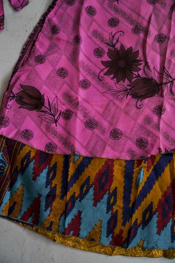 India gipsy sari wikkelrok magisch roze met petrolgroen en oker
