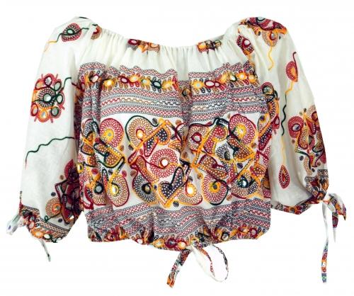 Jaren zestig blouse tuniek wit met borduursel en spiegeltjes